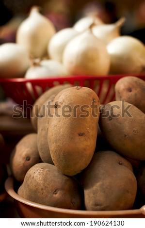 potatoes on market - stock photo
