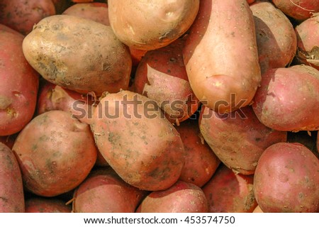 potatoes on the counter market for sale as a background