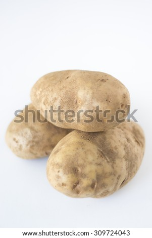 Potatoes on White Background, Dirty Potatoes