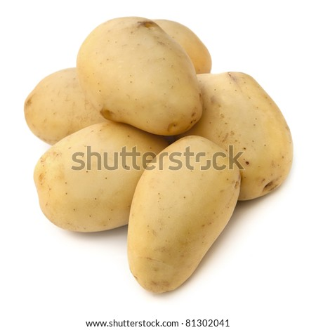 Potatoes over white background.