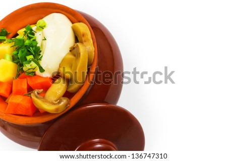 potatoes pot mushrooms a isolated carrot isolated on white background