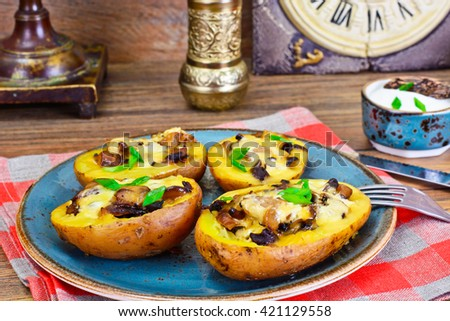 Potatoes Stuffed with Mushrooms and Cheese Studio Photo - stock photo