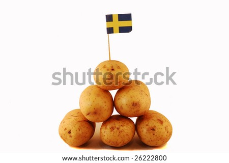 potatoes with swedish flag, isolated in white - stock photo