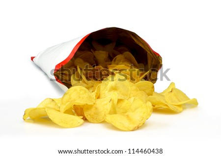 Potatos chips group - stock photo
