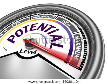 potential level conceptual meter, isolated on white background - stock photo