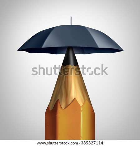 Potential security concept or education safety symbol or freedom of speech icon as a pencil with an umbrella protecting the writing instrument representing the guarding of ideas and security plan. - stock photo