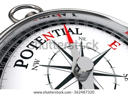 potential the way indicated by concept compass, isolated on white background - stock photo