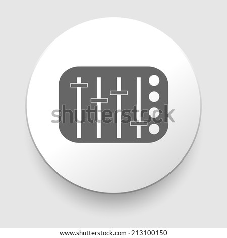 potentiometer, slider, knob, equalizer icon on white background - stock photo