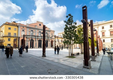 POTENZA, ITALY - MARCH 13, 2015: day view of Mario Pagano square with local people in Potenza, Italy. Potenza is the highest regional capital city in Italy.