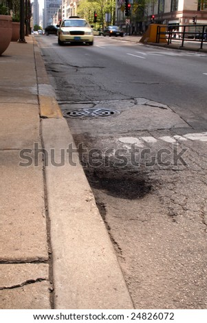 Pothole in city street