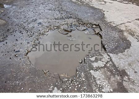 Potholes - stock photo