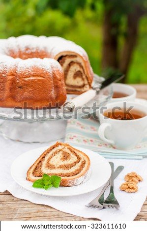 Potica, A Slice of Slovenian Walnut Roll, copy space for your text - stock photo