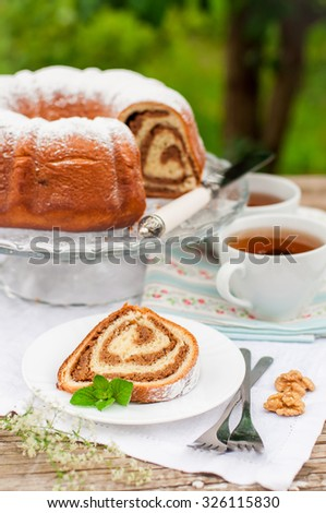 Potica, Slovenian Walnut Roll, copy space for your text - stock photo