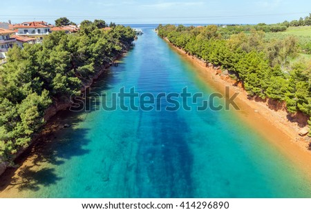 Potidea canal, Halkidiki, Greece - stock photo