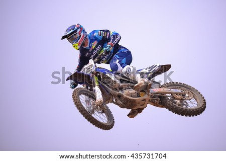 Potisek Milko #32 of Tip top Mp32 Racing Team jumps to during the FIM Motocross World Championship Grand Prix of Thailand on March 6, 2016 in Suphanburi, Thailand.