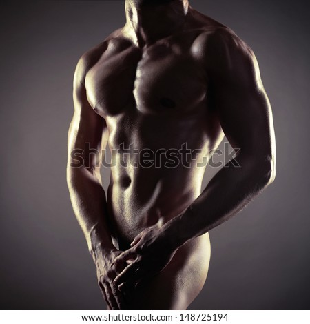 Poto of naked athlete with strong body - stock photo