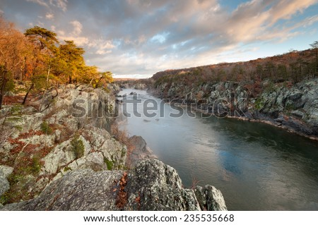 Potomac River Great Falls National Park Mather Gorge Geologic Attraction - stock photo