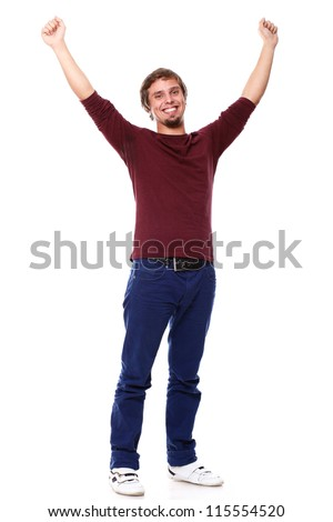 Potrait of young excited guy over white background - stock photo
