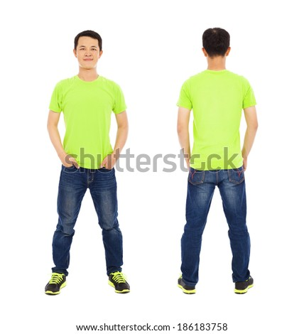 potrait of young man standing ,front and back - stock photo