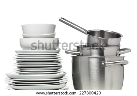 Pots and Plates in a stack - stock photo