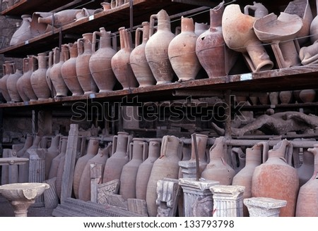 Pots in storage, Pompeii, Nr. Naples, Campania, Italy, Europe - stock photo