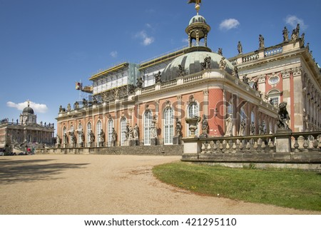 POTSDAM - APR 29 : Sanssouci gardens on April 29, 2015 in Potsdam, Germany