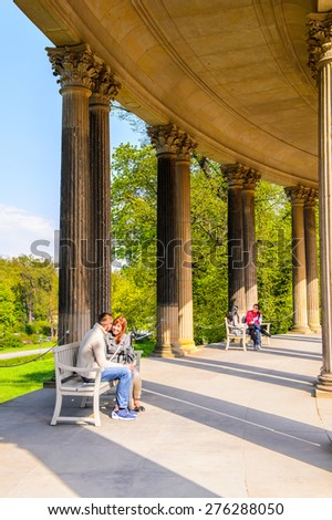 POTSDAM, GERMANY - APR 30, 2015: Part of the Sanssouci Palace, the former summer palace of Frederick the Great, King of Prussia, UNESCO World Heritage - stock photo