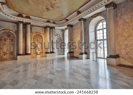 POTSDAM, GERMANY - DECEMBER 26, 2014: Interior of the New palace, situated on the western side of the Sanssouci royal park in Potsdam. It is considered to be the last great Prussian baroque palace. - stock photo