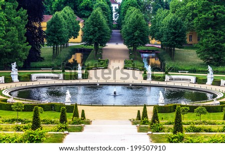 POTSDAM, GERMANY-JUNE 04, 2014: Royal Palace Sanssouci is the former summer palace of Frederick the Great, King of Prussia, in Potsdam, near Berlin - stock photo