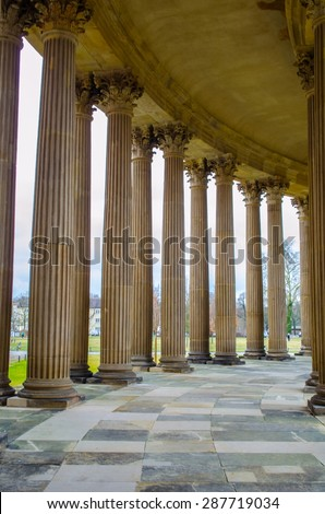 POTSDAM, GERMANY, MARCH 11, 2015: antique columns arcade built in sanssouci park in potsdam, germany. - stock photo