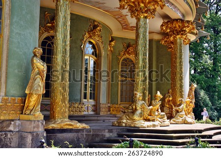 Potsdam, Germany - May 19, 2013: Chinese tea house in Sanssouci Park - stock photo
