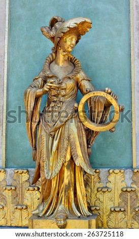 Potsdam, Germany - May 19, 2013: Statues in the Chinese house in Sanssouci Park - stock photo