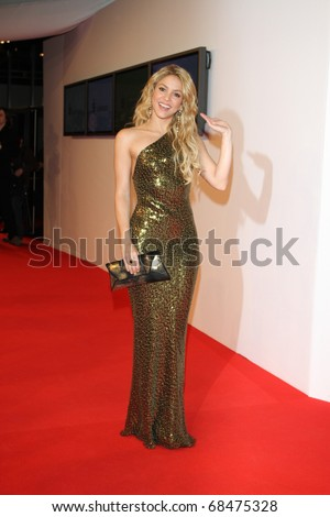 POTSDAM  - NOVEMBER 11: Shakira arrives for the Bambi 2010 Award at Filmpark Babelsberg. November 11, 2010 in Potsdam, Germany - stock photo