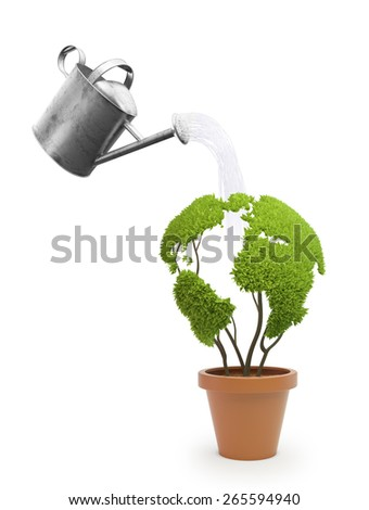 Potted plant shaped like a world map - ecology and green lifestyle concept - stock photo