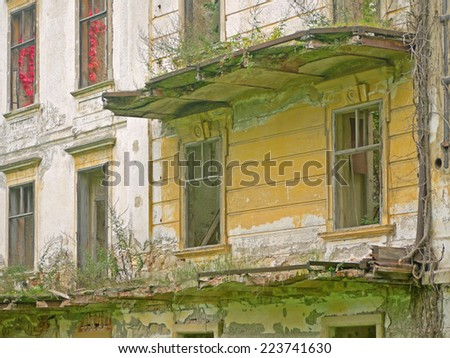 POTTENDORF, AUSTRIA - 12  October 2014: External wall of the castle in Pottendorf, which was abandoned after World War II. The building is currently being renovated. - stock photo