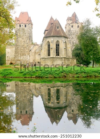 POTTENDORF, AUSTRIA - 15 October 2014: The castle in Pottendorf was abandoned after World War II. The municipality of Pottendorf bought the castle in 2005 and made it accessible to the public in 2009. - stock photo