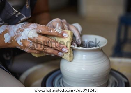Potter Making Ceramic Pot Vase On Stock Photo Edit Now 765391243