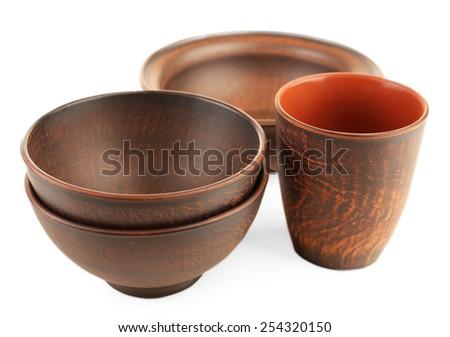 Pottery isolated on white - stock photo