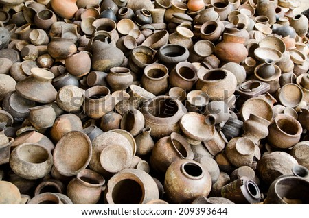 Pottery jar in Thailand. - stock photo
