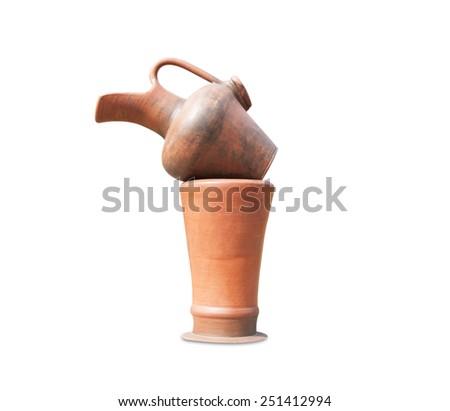 Pottery Old Orange - stock photo