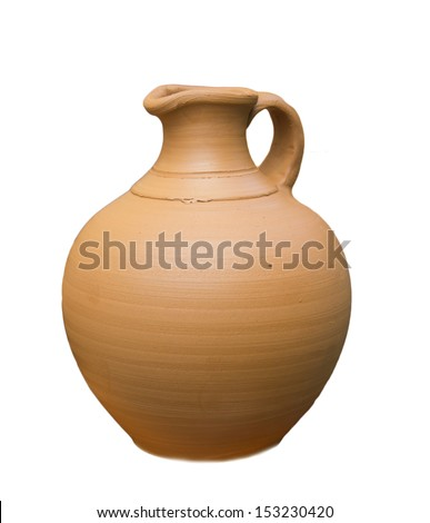 pottery on a white background - stock photo