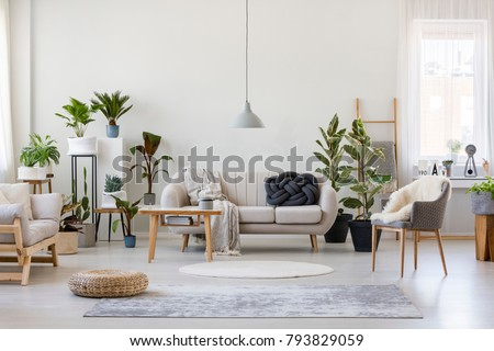 Pouf Gray Armchair Spacious Living Room Stock Photo (Royalty Free ...