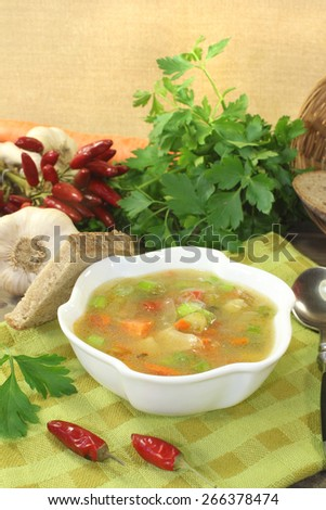 Poultry consomme with greens and smooth parsley - stock photo