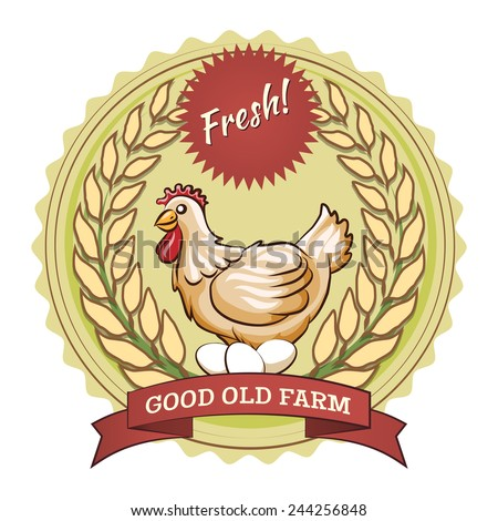 Poultry farm badge, chicken and eggs. Sticker with a wavy stroke - stock photo