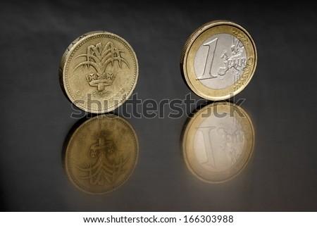 Pound and Euro  - stock photo