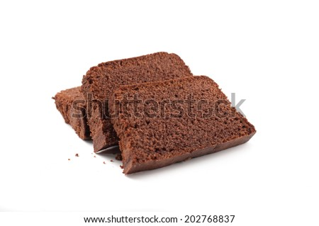 pound cake on white background