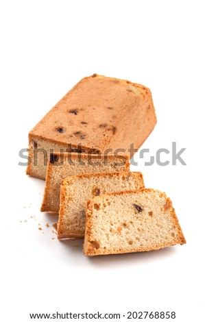 pound cake on white background - stock photo