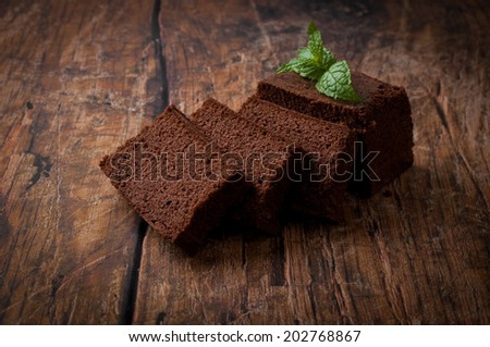 pound cake over wooden background