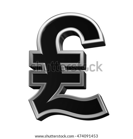 Pound sign from black with silver shiny frame alphabet set, isolated on white. 3D illustration.