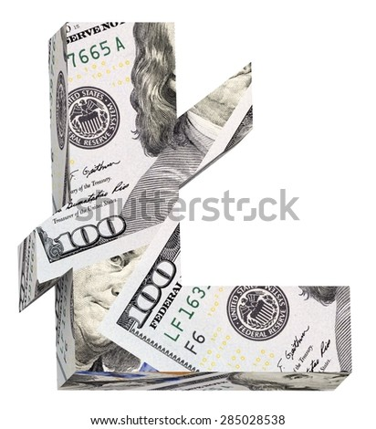 Pound sign from dollar bill alphabet set isolated over white. Computer generated 3D photo rendering. - stock photo